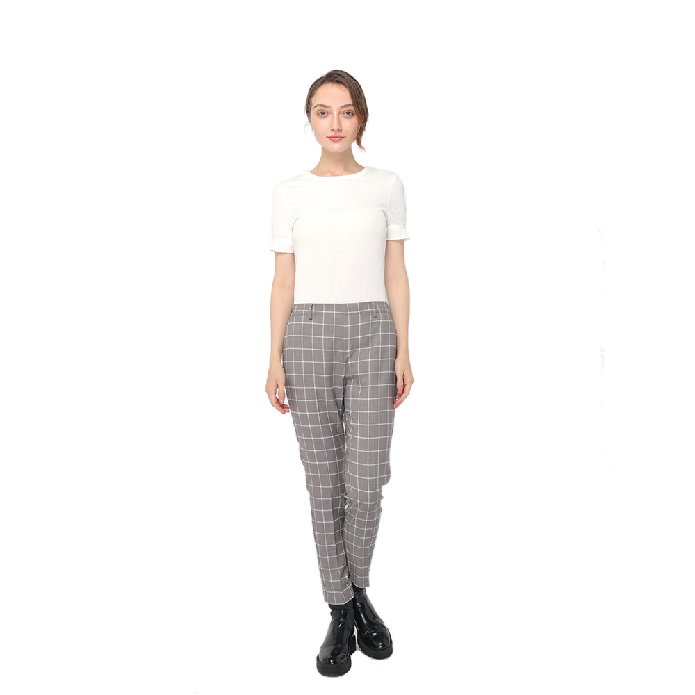 2020 modern check mid-waist pants with side pockets and zipper fastening women wholesale Featured Image