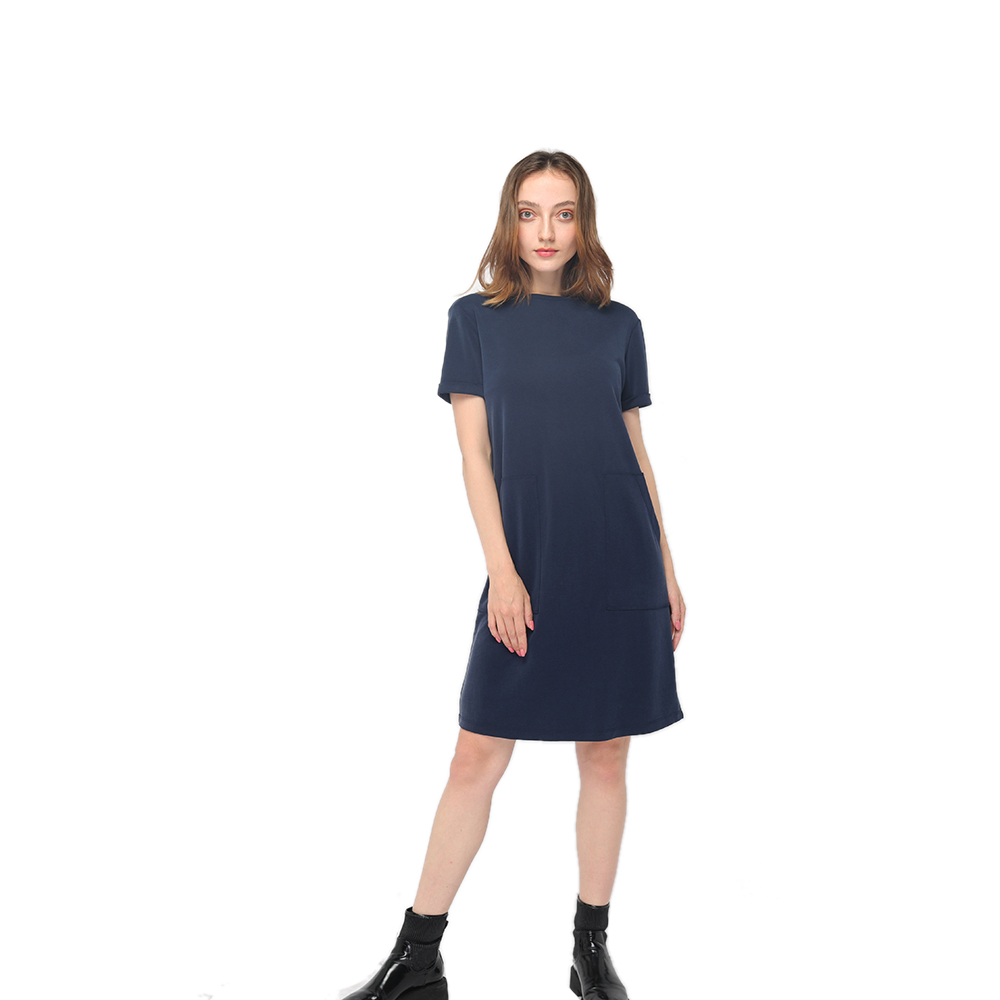 2020 modern round neck skin-friendly knitting modal short sleeve dress women wholesale Featured Image
