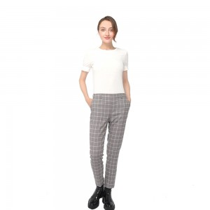 2020 modern check mid-waist pants with side pockets and zipper fastening women wholesale