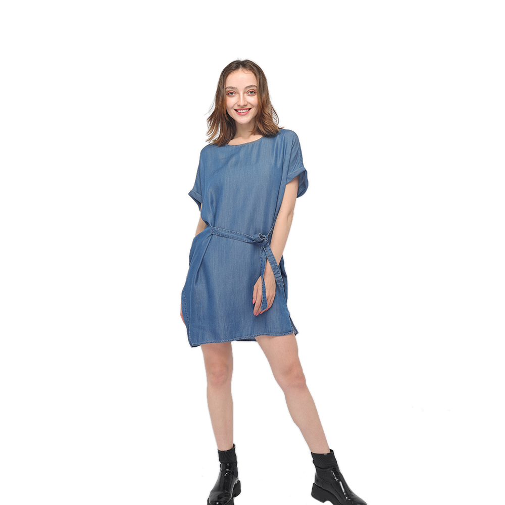 2020 modern round neck smooth tencel denim garment washing short sleeves belted dress wholesale Featured Image
