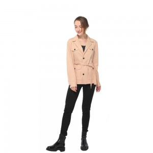 2020 modern front fastening with contrast buttons long sleeve military belted blazer women wholesale