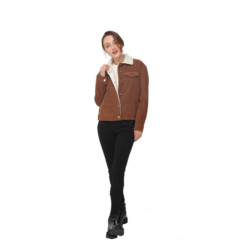 2020 modern corduroy jacket with a contrast faux fur interior and chest pockets women wholesale