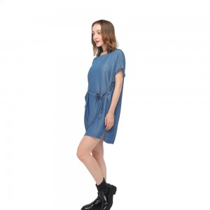 2020 modern round neck smooth tencel denim garment washing short sleeves belted dress wholesale