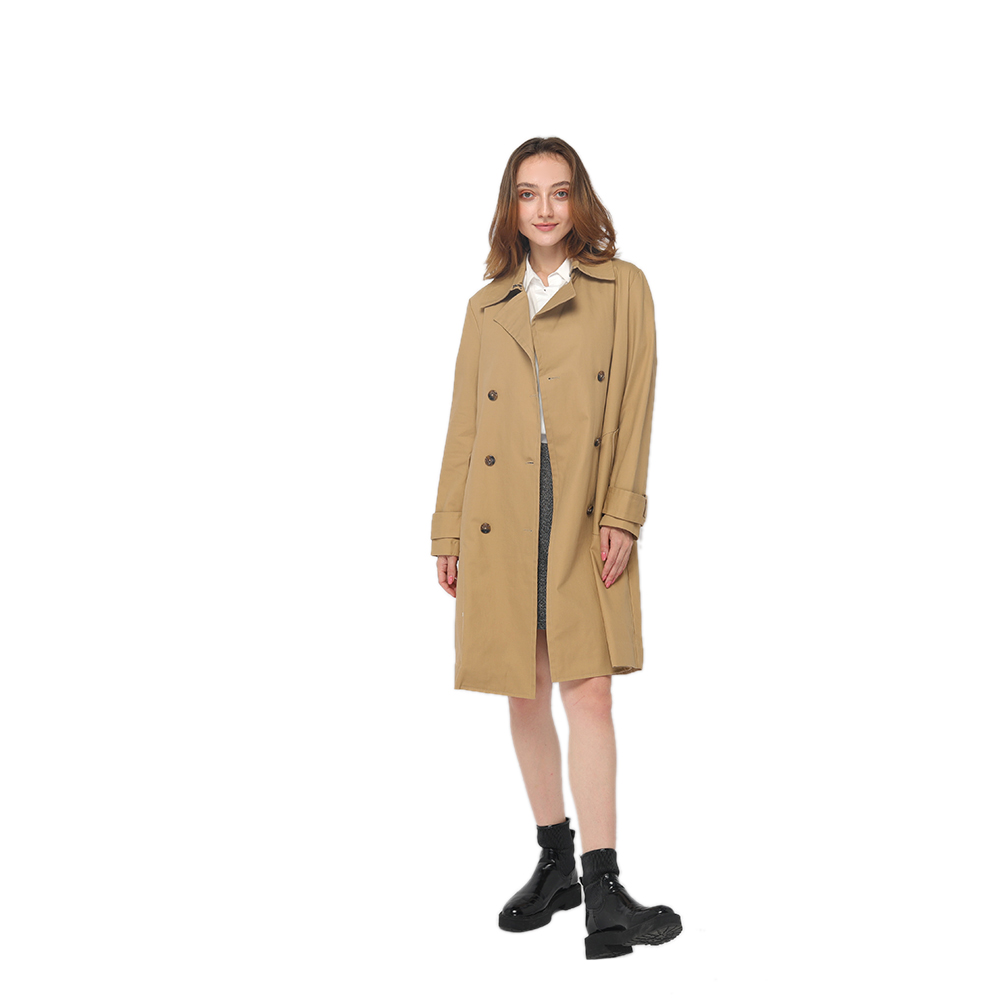 2020 modern knee length trench coat with lapel collar and double-breasted button fastening women wholesale