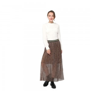 2020 modern high waist pleated midi skirt with contrast elastic waistband women wholesale