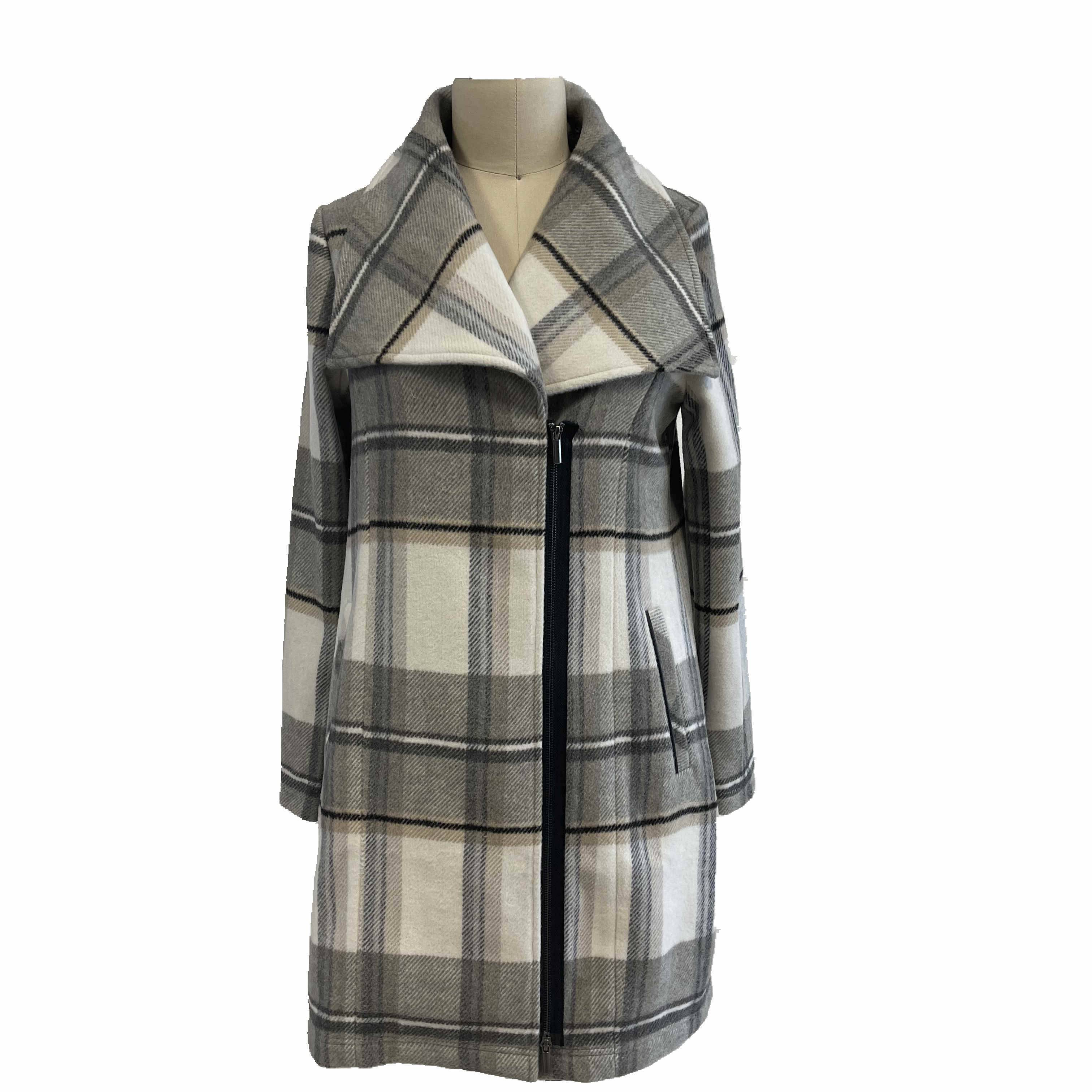 2021 modern  fantasy long sleeve wool plaid coat women wholesale