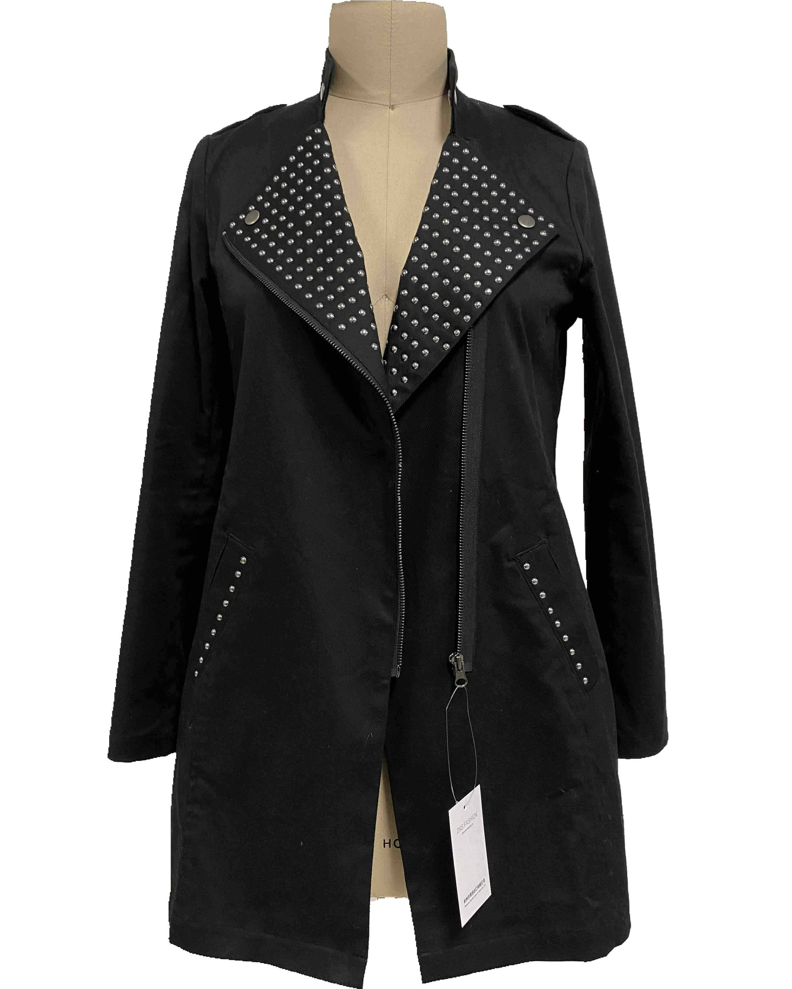 2021 modern basic long sleeve coat with rivets decoration at lapel and welt women wholesale