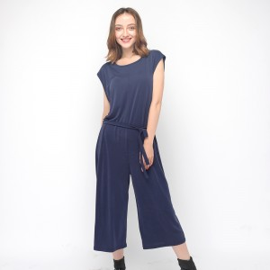 2020 modern skin-friendly modal jumpsuit with round neck and short sleeve women wholesale
