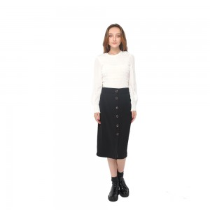 2020 modern high waist office lady skirt with buttons fastening women wholesale