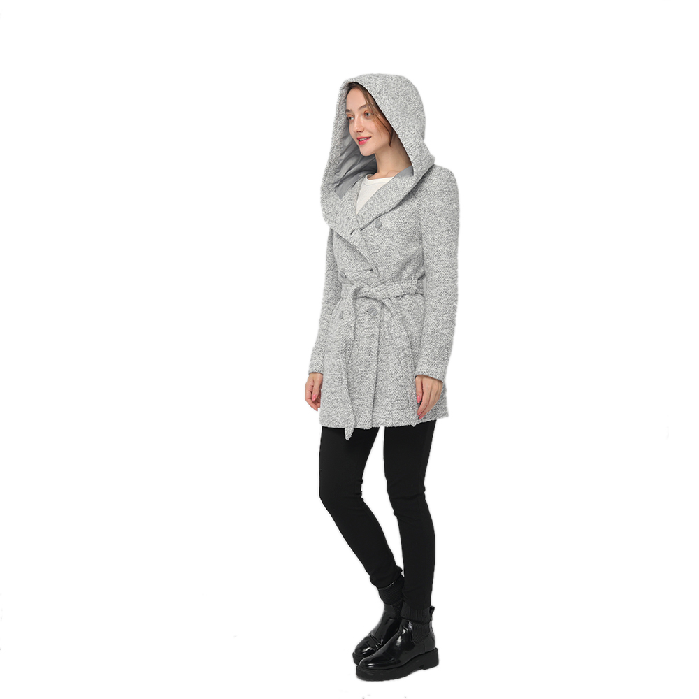 2020 modern wool blend long sleeve hooded coat women wholesale Featured Image