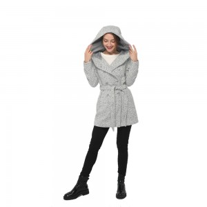 2020 modern wool blend long sleeve hooded coat women wholesale