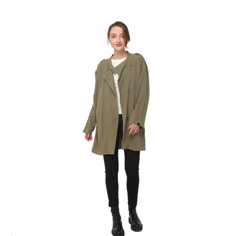 2020 modern ramie trench coat with shoulder straps and long sleeves women wholesale