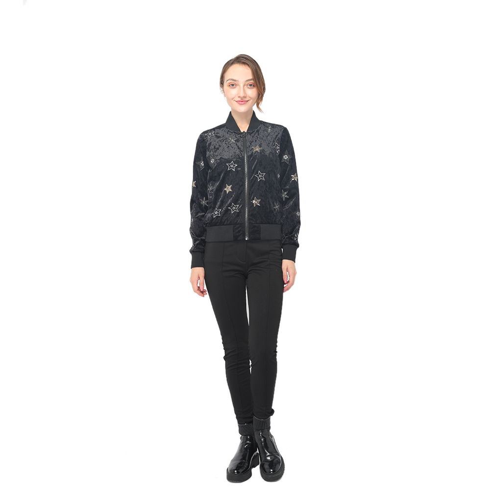 2020 modern elegant velvet embroidery jacket with front zipper fastening women wholesale