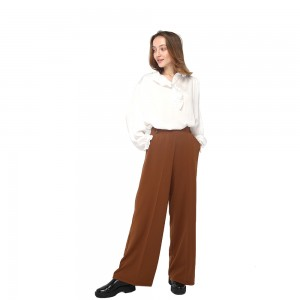 2020 modern flowing office lady pants with high waist and side pockets wholesale