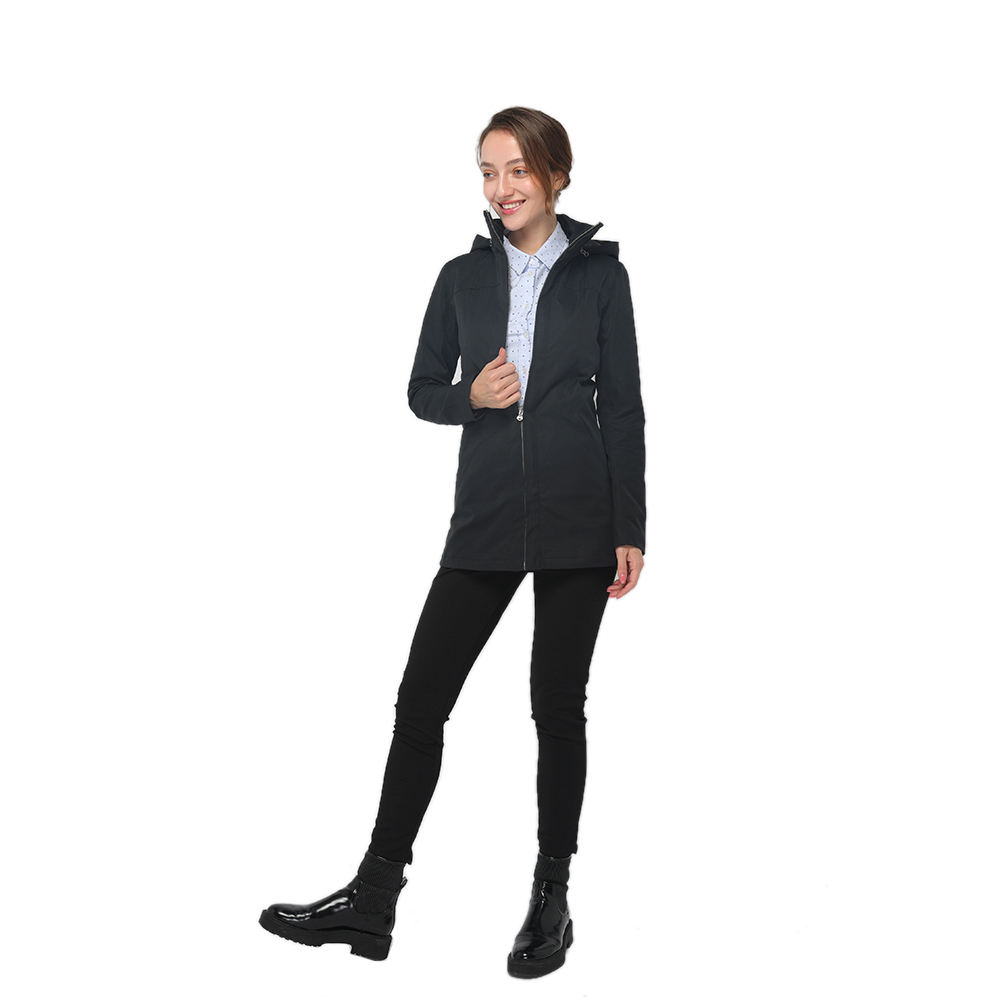 2020 modern shirt neck front zipper fastening long sleeve detachable hooded jacket women wholesale