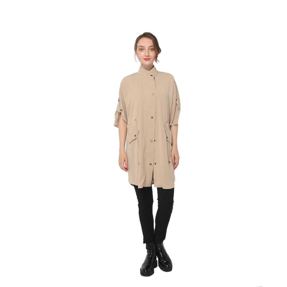 2020 modern knee length trench coat with high collar and  half sleeves women wholesale