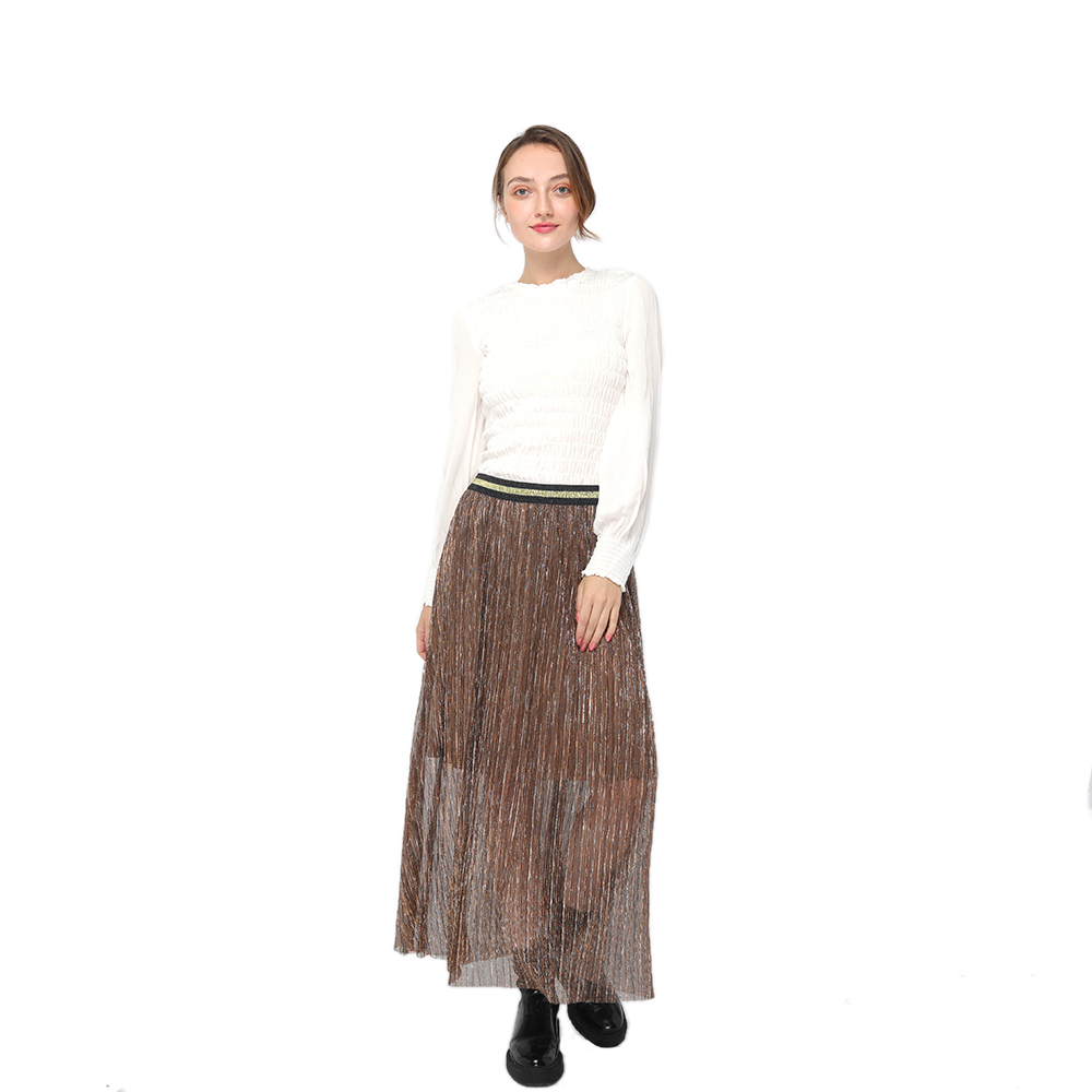 2020 modern high waist pleated midi skirt with contrast elastic waistband women wholesale Featured Image