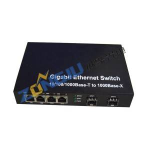 4 Port 10/100Mbps Ethernet + 2 port Fiber Optic Switch Model ZJ-100204-25
