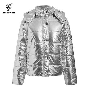 2019 Fashion Winter Silver Mirror Hooded Stand Neck Padded Jacket Women Down Coat