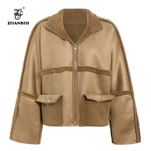 Vintage warm double side wear lambs suede women parka thick female jacket winter coats