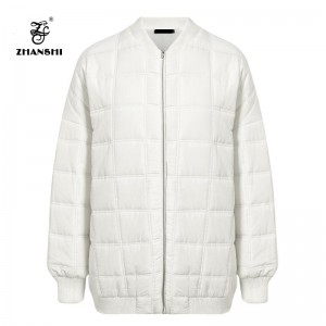 2019 Newest White Quilting Women Winter Polyester Bomber Jacket