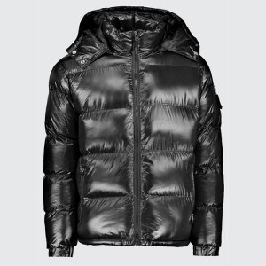 High Shine Hooded Puffer Jacket