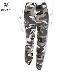 Autumn Camouflage Patchwork Side Slit Snap Button Loose Elastic Mid Waist Long Pants Women Streetwear Harem Trousers
