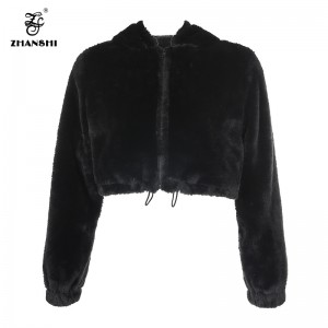 Newest Fashion Winter Black Faux Rabbit Fur Soft Full Sleeve Streetwear Crop Top Jacket Women Parka Coat