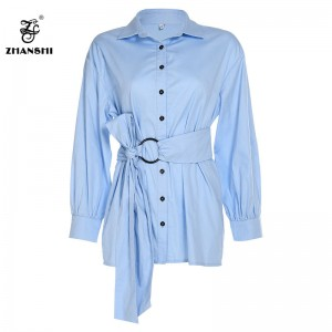 Fashion autumn button blue shirt dress lantern sleeve empire dress