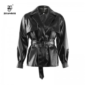 2019 women black fashion faux leather jacket empire sashes coat