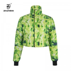 Newest Fashion Winter Green 3D Printed Stand Neck Full Sleeve Short Slim Padded Jacket Women Polyester Coat