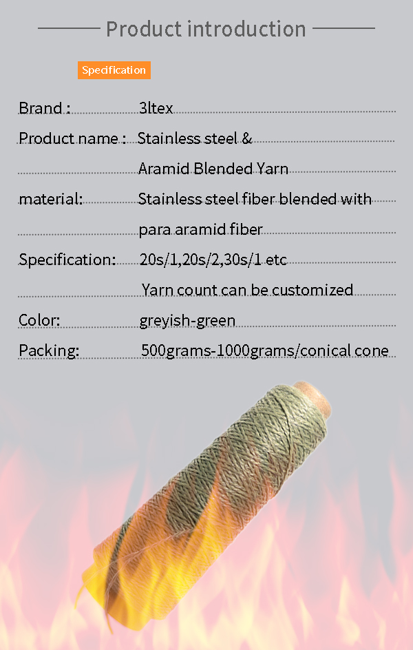 thermal resistant stainless steel with aramid blended Yarn