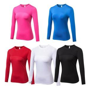 Womens Fitness Training Long Sleeve Top – Gym Elastic Athletics Tight Shirt All Season Fit Base Layer Wicking Thermal Underwear for Workout Running