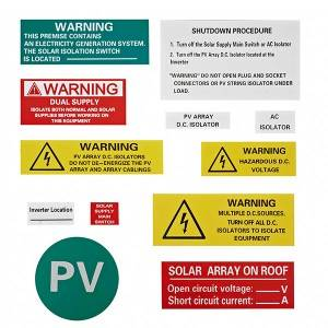 UV Stickers electrical wire label pv warning labels warning labels for pv system