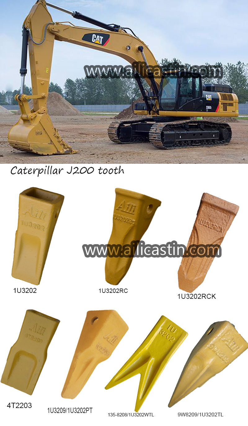 Bucket teeth manufacturer rock forging yellow or black bucket teeth for mini excavator Caterpillar J200
