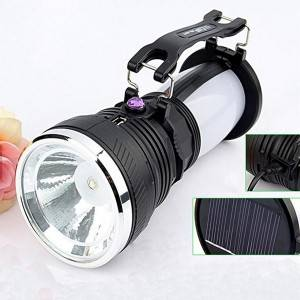 Solar Flashlight Power Rechargeable Battery LED Torch Water proof For Tent