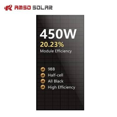 9BB 144 half cells solar panels all black mono ...