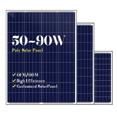 Small size customized poly solar panels 50w65w80w90w