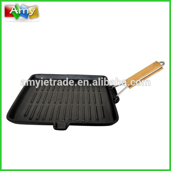 cast iron grill with folded handle, cast iron griddle, cast iron barbecue grill
