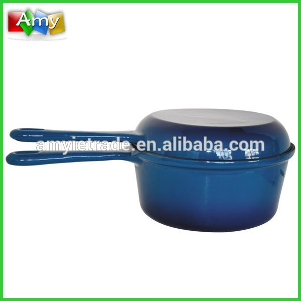 SW-22C Blue Enamel Sauce Pan With Lid and Long Handle,