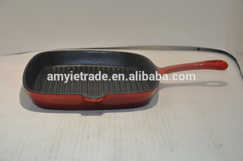 square oil or enamel finished cast iron frypan/cast iron cookware