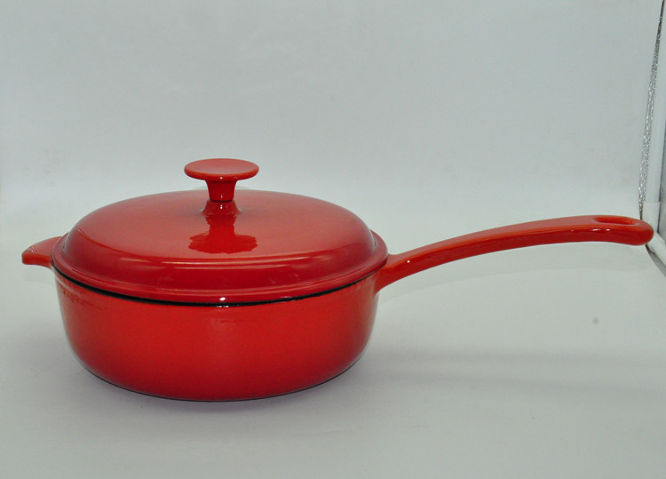 SW-CO24A Red Enamel Shallow Stew Pot with Long Handle and Lid