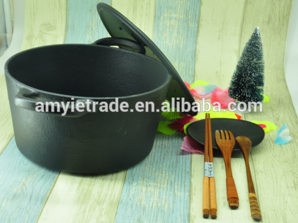 Hot-selling Best Selling Porcelain Enamel Cookware - Black Round Enamel Cast Iron Casserole – Amy