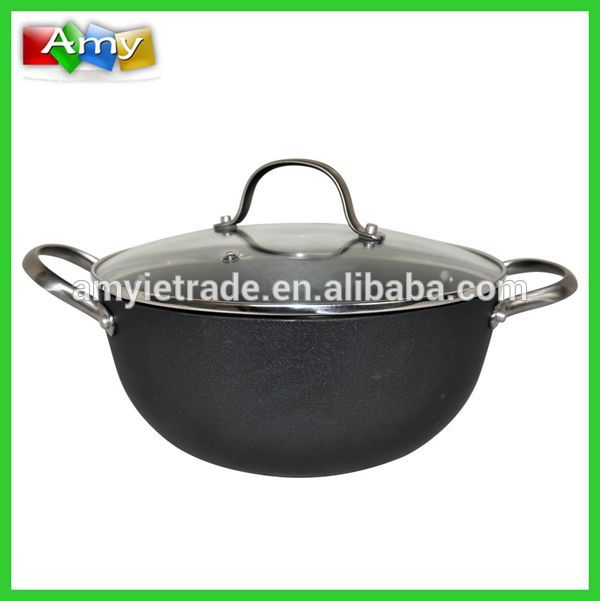 SW-GW282 Die Casting Wok with Glass Lid and Stainless Steel Handles
