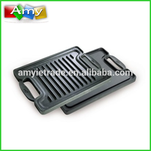 Cast Iron Double Sided Grill Pan-One Side Flat, One Side With Ribs