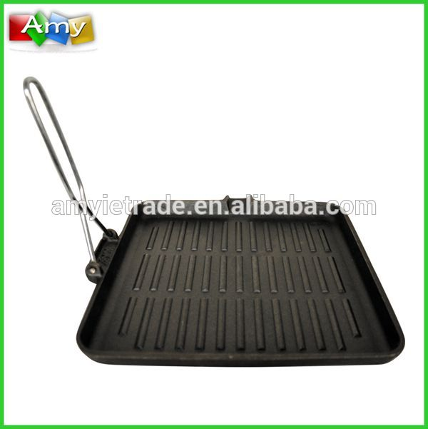 SW-F064 cast iron BBQ grill with foldable wire handle,cast iron pan