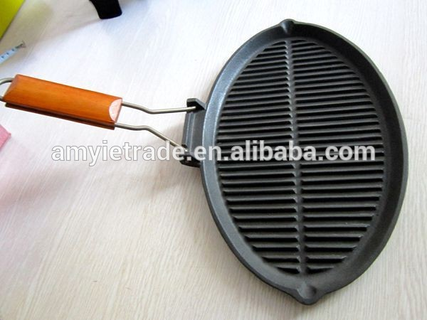 Oval Shape Cast Iron Grill Pan, Cast Iron Fish Pan, Korean Pan