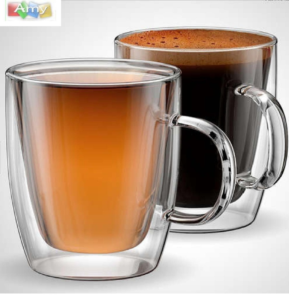 Custom Heat Resistant Borosilicate Double Wall Glass Cup
