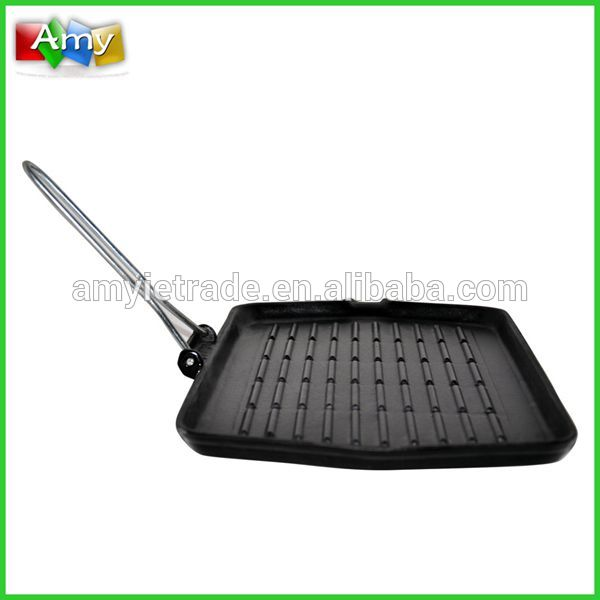 rectangle cast iron grill with foldable wire handle