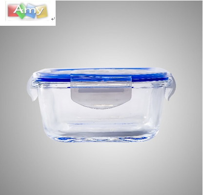 Square Borosilicate Glass Food Container Lunch Box